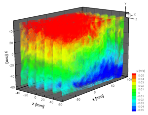 Tomographic PIV results in a measurement volume of 170 x 110 x 100 mm³